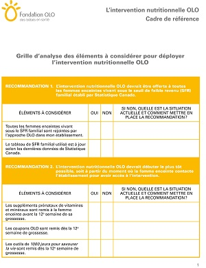 Fondation OLO | Grille d'analyse - intervention nutritionnelle OLO