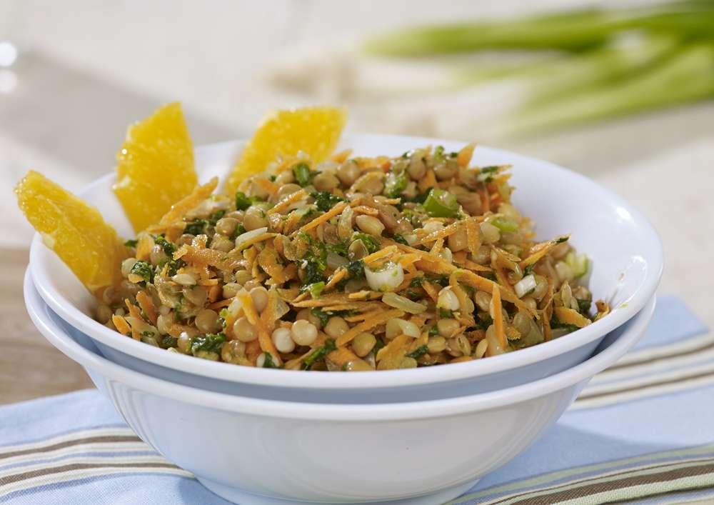 Fondation OLO | Recette | Salade de lentilles aux carottes et à l'orange