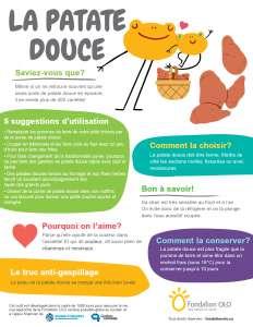 Infographie - la patate douce | Fondation OLO
