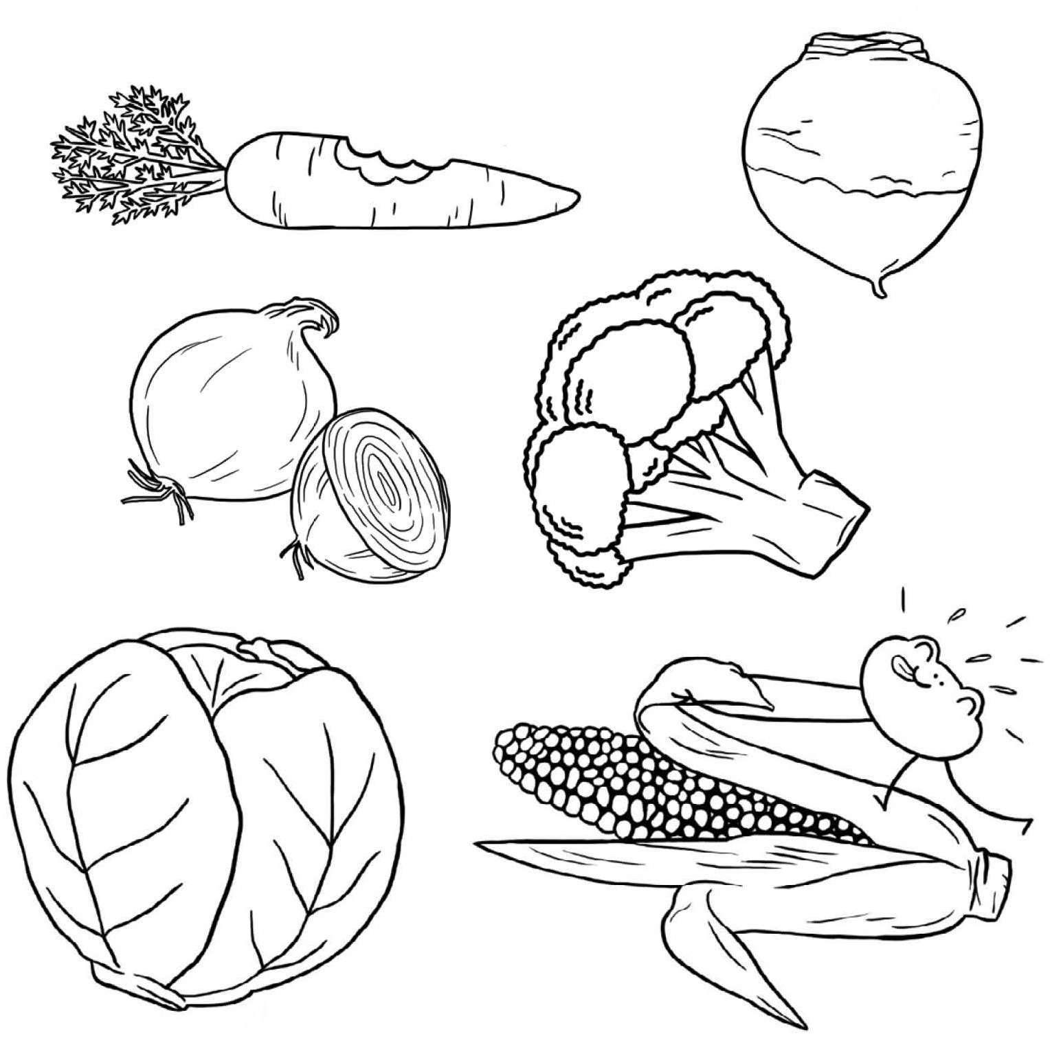 Coloriage les l gumes jeux et outils fondation olo - Dessin de legumes ...