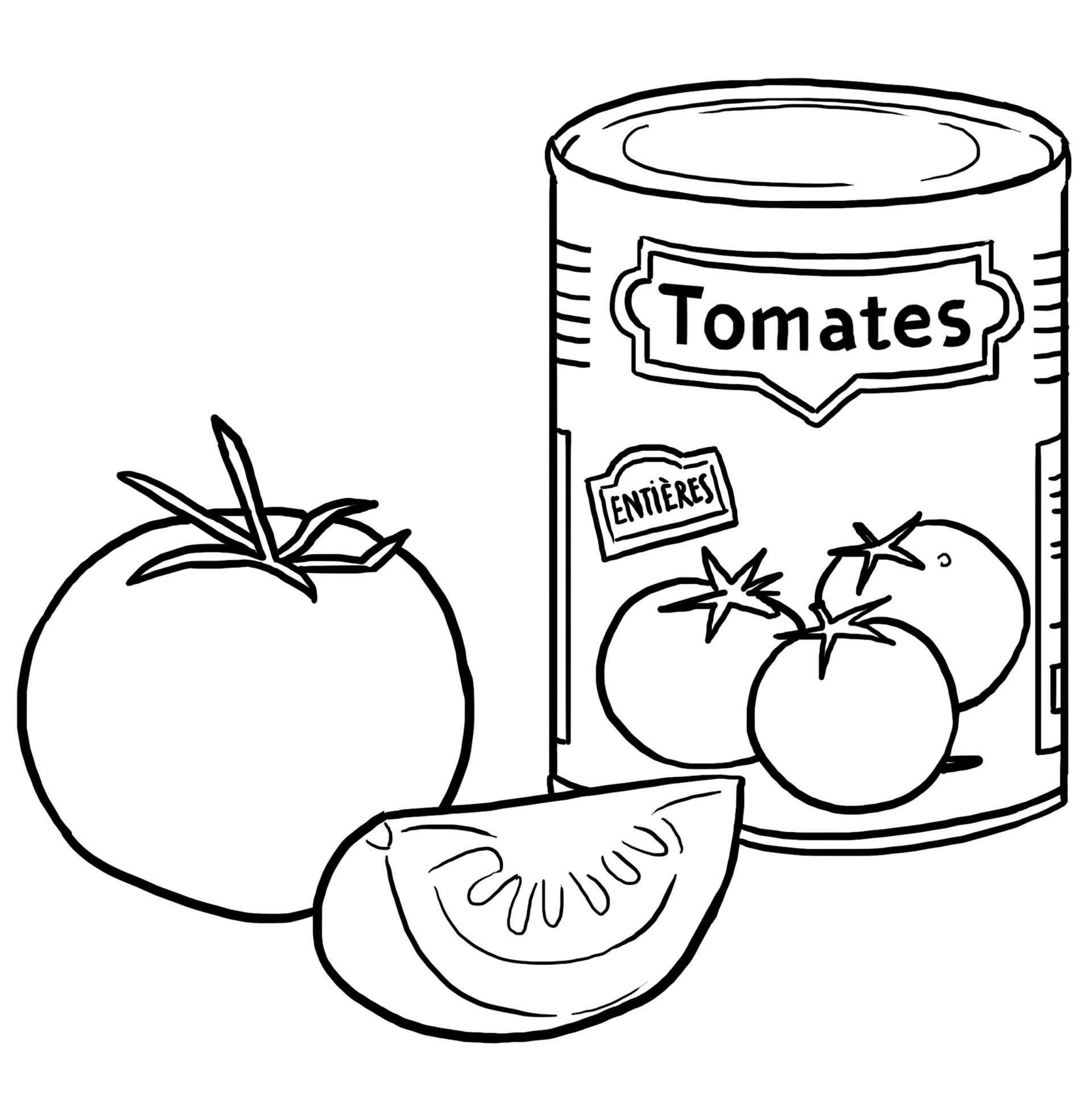 Coloriage des aliments tomate jeux et outils - Coloriage colorier ...