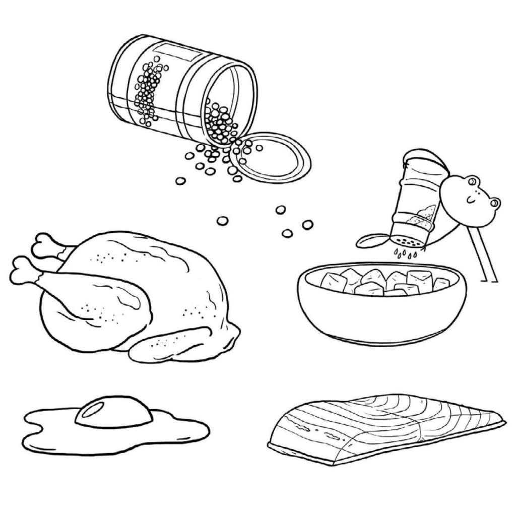 Fondation Olo | Coloriage | Les aliments protéinés