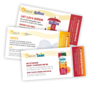 Fondation OLO | Coupons OLO d'oeufs, lait et jus d'orange
