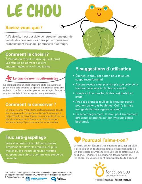 Fondation OLO | Infographie | Découvrir les aliments | Chou