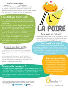 Fondation OLO | Découvre les aliments | Infographie | La poire