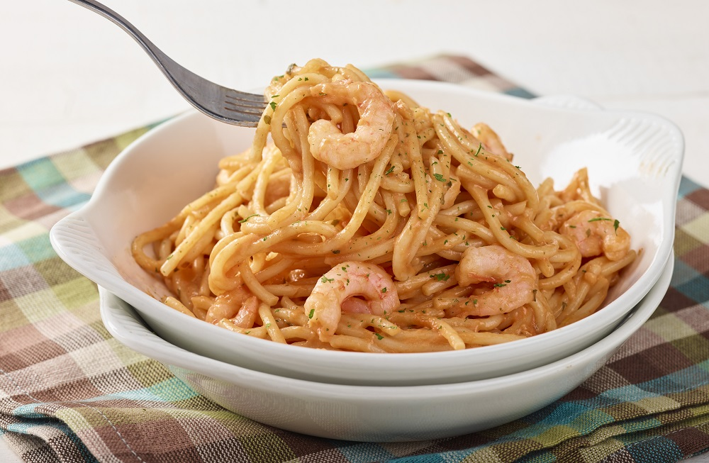 Fondation OLO | Recette | Pâtes aux crevettes sauce rosée