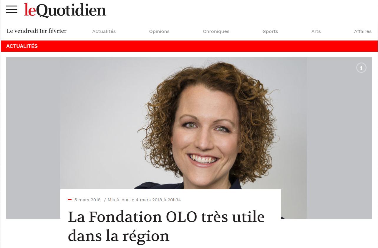 Revue de presse de la Fondation OLO | Le Quotidien | La Fondation OLO très utile dans la région