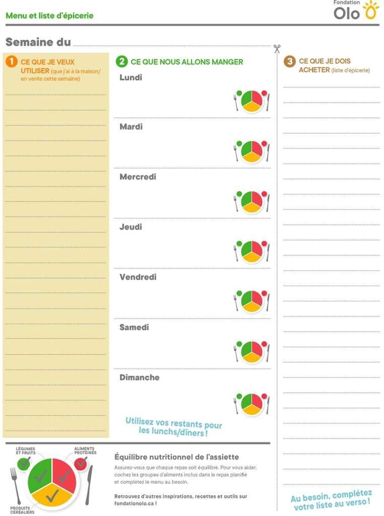 Fondation Olo   Menu et liste d'épicerie