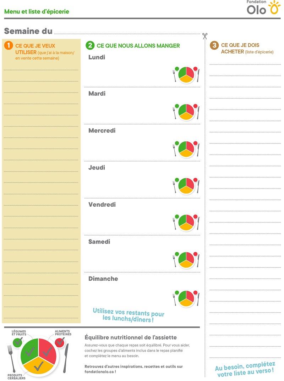 Fondation Olo | Menu et liste d'épicerie