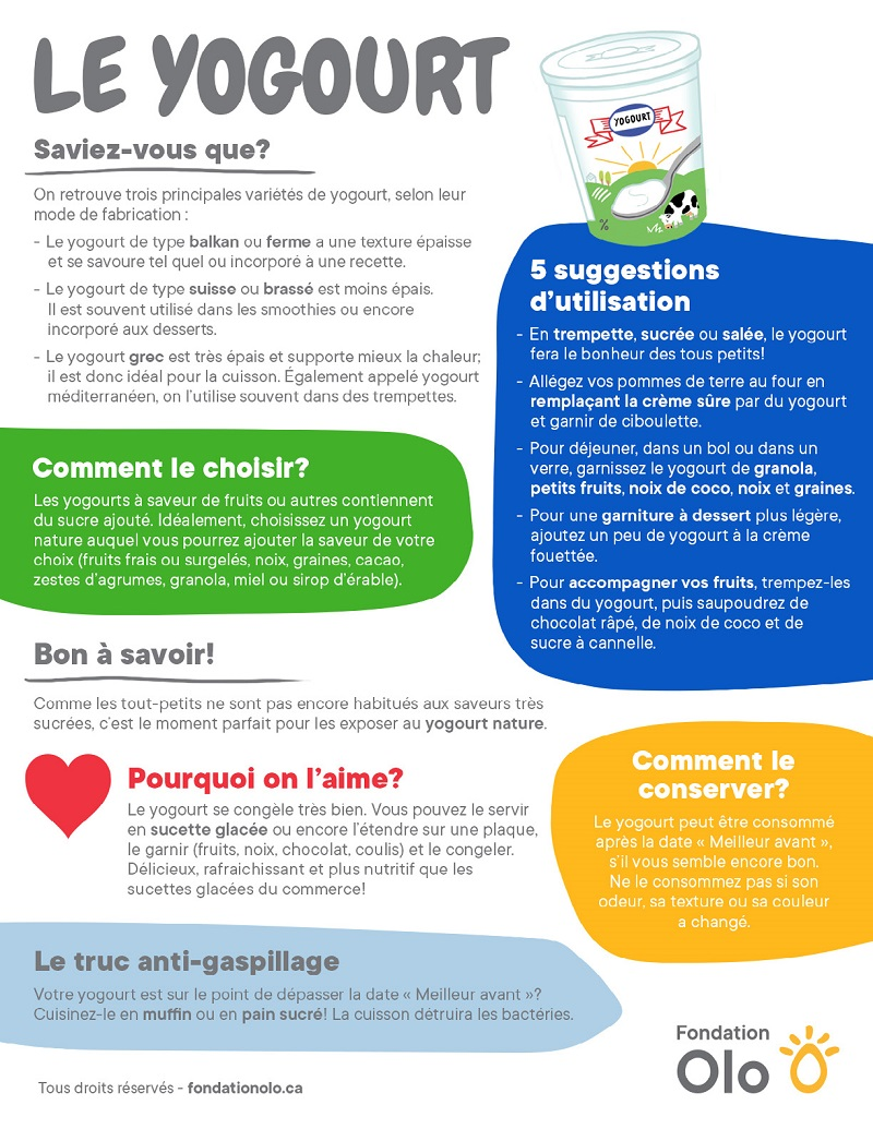 Fondation OLO | Infographie | Yogourt